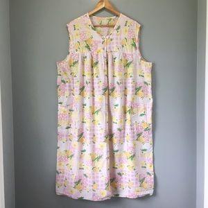 60's Vintage Pink Gingham Floral Print House Dress